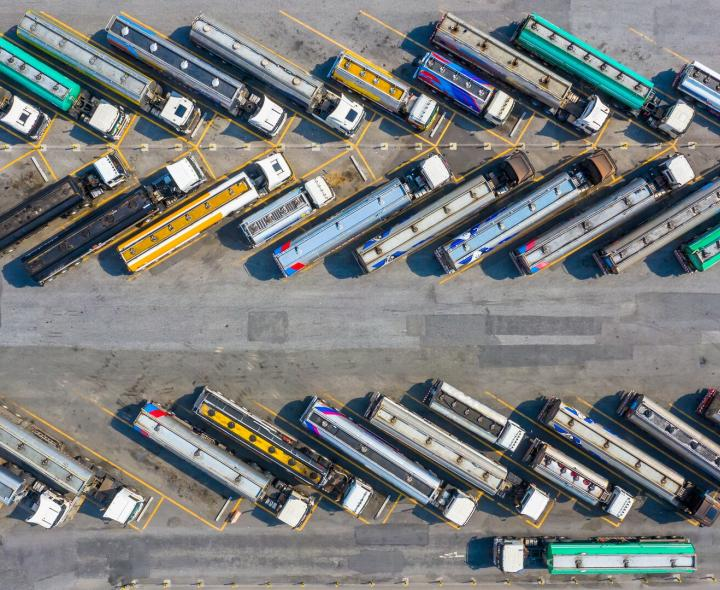 Birds eye view of trucks in parking lot