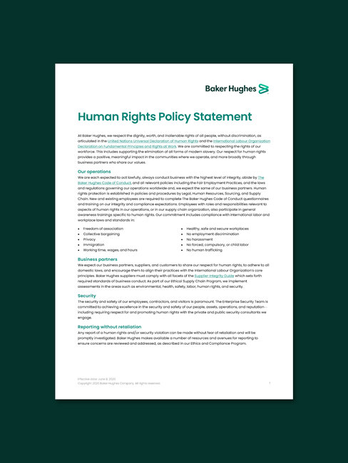 Screenshot of Baker Hughes' Human rights policy statement