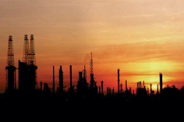 Refinery at sunset photo