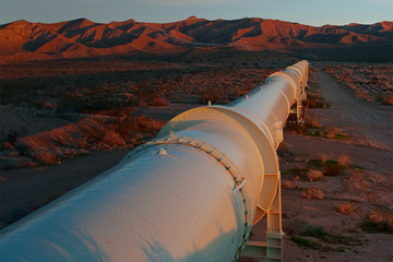 Photo of a production pipeline in the desert.